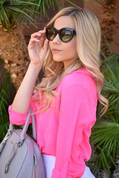 Neon Pink Shirt and Cat Eye Sunglasses