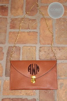 Monogrammed Clutch Purse with Crossbody Chain Tan by CoastCouture, $26.00