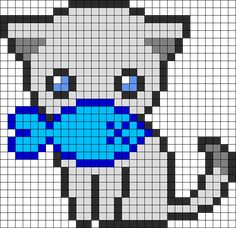 Cute Fishy Kitty Perler Bead Pattern | Bead Sprites | Animals Fuse Bead Patterns