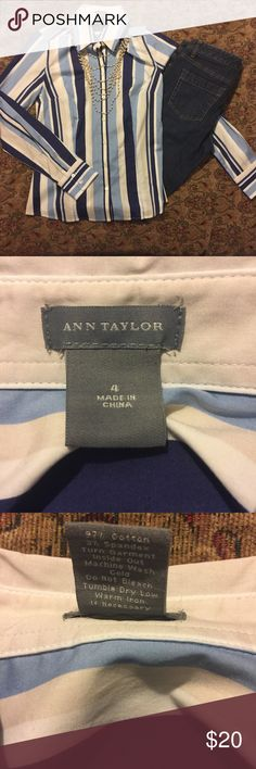 NWOT Ann Taylor Button Down Fitted Shirt NWOT Ann Taylor Button Down Fitted Shirt. Size 4. Blue and white. Excellent condition. 3% Spandex for stretch. Ann Taylor jeans shown with shirt are available in my closet. Great addition for a capsule wardrobe. Bundle and save! I accept reasonable offers. From a smoke free 💨🚫, pet friendly 🐶 🐱 🐦 home 🏡. Ann Taylor Tops Button Down Shirts
