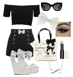A fashion look from February 2016 featuring off the shoulder crop top, high heel shoes and white purse. Browse and shop related looks. Karen Walker, American Apparel, Bows, Shoe Bag, Polyvore, Stuff To Buy, Shopping, Collection, Design