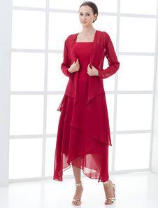 Elegant Wine Red Chiffon Mother Of The Bride Dress