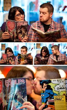 comic book engagement session