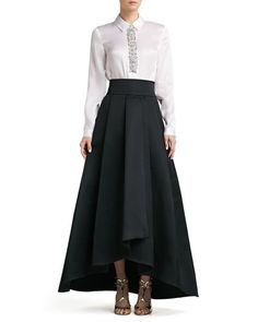 Crystal Beaded Satin Faced Organza Blouse & Duchesse Origami Ruffle Gown Skirt by St. John Collection at Neiman Marcus. Evening Blouses, Evening Gowns, Gown Skirt, Dress Up, Black Ruffle Skirt, Pleated Skirt, Chiffon Skirt, Midi Skirt, Modern Filipiniana Gown