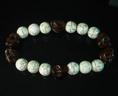 Fashion Turquoise Coffee Brown Skull Ball Beads Stretch Bracelet