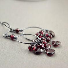 Garnets On A Hoop Handmade Oxidized Sterling Earrings