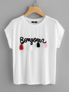 You decide emotion t shirt size xssmlxl2xl3xl shirt tassel detail embroidery dolman top fandeluxe Image collections