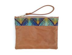 Pale tan leather pouch with print detail / leather clutch / wallet / small pouch / african print