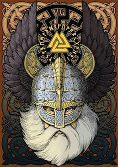 Odin | Beautiful design incorporating similar Sutton Hoo Helmet with Raven Wings.