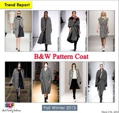 Black & White Pattern #Coat#Fashion #Trend for Fall Winter 2013 #trends  March 17th, 2013 10:16A.M. GMT