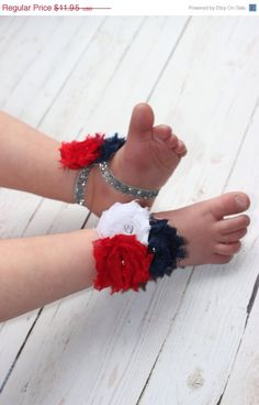 Huge sale 25% off Fourth 4th of July Baby Barefoot Sandals- Red White and Blue- Newborn Baby- Shabby chic flower- Photo Prop on Etsy, $8.96
