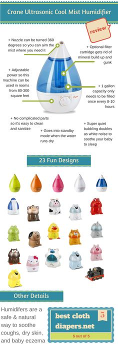 The best humidifier for baby in the winter.  Soothe coughs, congestion, and stuffy noses caused by colds and the flu.  Soothe baby's dry itchy skin and eczema.