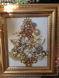 VINTAGE Costume JEWELRY Mosaic Boudoir Glam Framed Floral Cream Christmas Tree