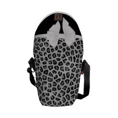 Hipster Girly Black White Animal Print And Bow Courier Bags #hipster  #tote #bow