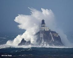 """12.10.15 Jim Thode December 10 at 9:50pm ·  Tillamook Rock Light aka """"Terrible Tilly"""" living up to her name today. The top of the light is 140' above sea level and that puts the top of the wave about 200' high. We dealt with closed roads due to slides and flooding, torrential rain, 1/2"""" hail and gale force winds to get this pic. photo by Jim Thode"""