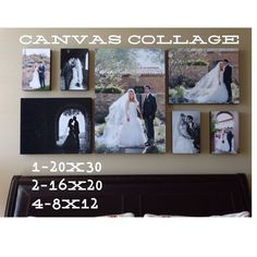 Canvas Collage collage for above your bed wall art bedroom decor Wedding Collage, Wedding Canvas, Wedding Wall, Canvas Wall Collage, Canvas Wall Decor, Collage Collage, Collages, Bedroom Wall Decor Above Bed, Bed Wall