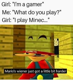"When you say ""Hello there"" and she responds with ""General Kenobi"" Mario's Wiener Just got a little bit harder - iFunny :) Rasengan Vs Chidori, Mario Memes, Cool Minecraft, Minecraft Memes, Lol, Funny Games, Fun Funny, Offensive Memes, Primary School"