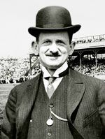 On Feb. 5, 1932, Barney Dreyfuss, president & owner of @Pittsburgh Pirates since 1900, died at age of 66 in NYC. In 1903, he brokered peace treaty that recognized two major leagues. Also instituted 1 set of rules, established agreements with minor leagues, set up cooperative scheduling, and recognized each league's rights to its own players. Agreement with Boston Pilgrims' (today's Boston Red Sox) owner Henry Killilea created modern World Series. In 1909, built Forbes Field.