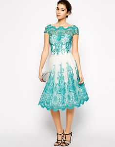 Image 1 of Chi Chi London Premium Embroidered Lace Prom Dress with Bardot Neck