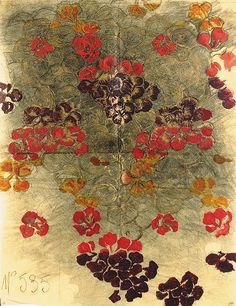 Raoul Dufy, design no. floral textile design - pproximately x See Illustration Sold with a photo-certificate from Mrs Fanny Guillon-Lafaille dated Paris le 2 juillet 2001 To be included in the forthcoming Catalogue des Projets de Tissus de Pattern Art, Print Patterns, Floral Patterns, Raoul Dufy, Conversational Prints, Textiles, Modern Artists, New Print, Vintage Floral