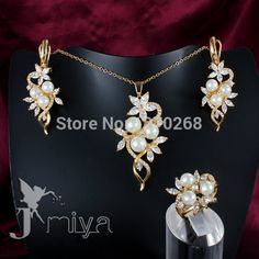 Fashion Jewelry Set  gold plated crystal & pearl necklace ring earring for woman pretty cute wedding gift Jmiya brand S544