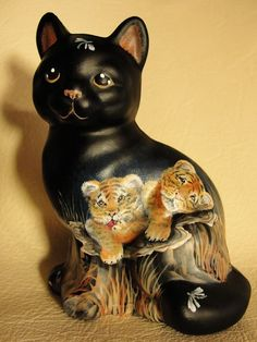 Fenton OOAK Black Cat Kitten Baby Tiger Cubs Exotic Cute - CC Hardman. Sold on Ebay for $510.00 in June of 2014.