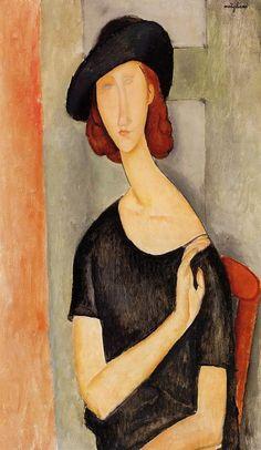 """Modigliani, """"Portrait of Jeanne Hébuterne (au Chapeau)"""" Amedeo Modigliani, Modigliani Portraits, Modigliani Paintings, Italian Painters, Italian Artist, Renoir, Action Painting, Kandinsky, Claude Monet"""