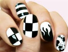 black and white Nail Art For Short Nails At Home