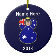 Australian Angel Flag Black Hair Ornaments -- circular ornament of dark blue background with white letters for your name and the year, so you can customize it. Angel design by @auntieshoe. For more angel flag Christmas, keepsake or holiday ornaments, go to  http://www.zazzle.com/angelflags/ornaments?dp=252583962754855233&rf=238656250999501047&tc=PinAngelsAuntieShoe