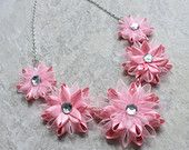 Items similar to Pink Necklace, Pink Statement Necklace, Pink Necklaces for Women, Big Bold Chunky Necklaces, Light Pink Flower Necklace, Light Pink Jewelry on Etsy