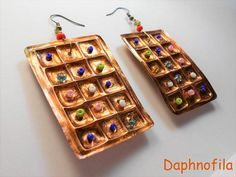 Chocolates with candies Copper earrings Handmade earrings