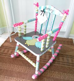 Personalized Painted Child Rocking Chair, Custom Painted Of A Tree Theme