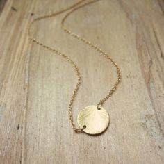 Gold Circle Necklace  //  Brushed Gold Vermeil Disc on a Delicate Gold Filled Cable Chain  // Simple Necklace by Shibusa Studio