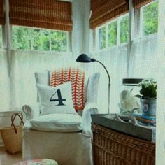 Rattan blinds and cafe curtains