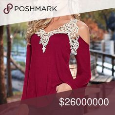 5⭐️Red Lace Detail Cold Shoulder Long Sleeves Top Brand New ❤Sexy Red Top With Lace Detail Bell Long Sleeves Top/ Cold Shoulders. This top tends to run on the short side. For an example if you are 56 this will hit around your waist. Tops
