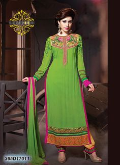 Voguish Green & Yellow Coloured Semi stitched Salwar Suit