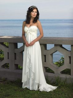 Simple Chiffon Lace Sweetheart Wedding Dress for Older Brides Over 40, 50, 60, 70. Elegant Second Wedding Dress Ideas.