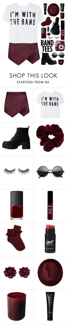 """I'M WITH THE BAND"" by xo-nichole ❤ liked on Polyvore featuring Lipstik, Huda Beauty, Polaroid, NARS Cosmetics, Forever 21 and Redopin"