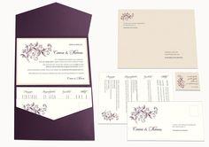 Pocket Fold Einladung 5x7 mit Blumenornament, Blumenranke, zwei Einlegern, Papiersigel mit Trauspruch und bedrucktem Briefumschlag. Farben: Dunkles Violett mit Rosé und Creme. © passion4paper