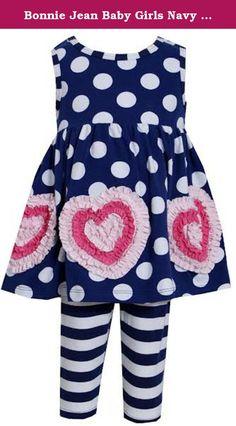 ac6e320f8 Bonnie Jean Baby Girls Navy Dot Heart Legging Set 3-6 Months. From Bonnie