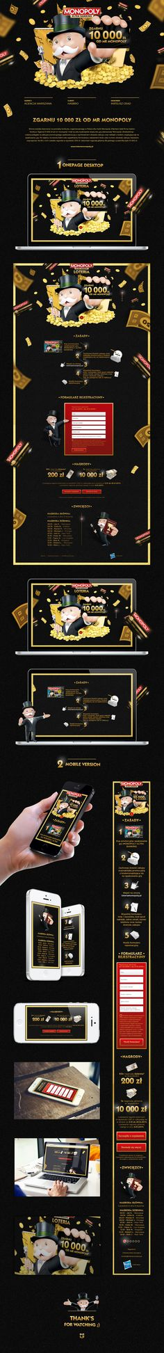"""The website was created for maintaining a contest, organised in Poland for Monopoly brand. The client was Hasbro Poland. The""""Get the 10 000 PLN from Mr Monopoly"""" purpose, was to build """"Monopoly ultrabanking"""" board game image.The loterry was to buy a prom…"""
