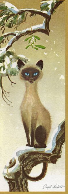 """Siamese Cat Christmas Card, unused, 8"""" long, desiged by Ralph Hullet; inside message: """"Season's Greetings and Best Wishes for a Happy New Year"""""""