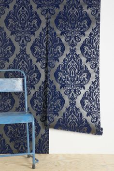 Graham & Brown Vintage-Style Velvet Wallpaper--this would also be great in black, dark red, or dark purple.