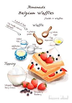 Heavenly Delicious Waffles More You are in the right place about healthy Baking Here we offer you the most beautiful pictures about the Baking lemon you are looking for. When you examine the Heavenly Delicious Waffles Waffle Batter Recipe, Waffle Recipes, Baking Recipes, Cookie Recipes, Cute Food, Yummy Food, Recipe Drawing, Belgium Waffles, Waffle Ice Cream