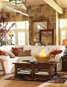 Just love this decor--I need a white couch......