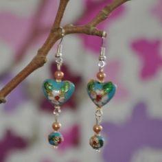 Blue Heart Cloisonne Earrings