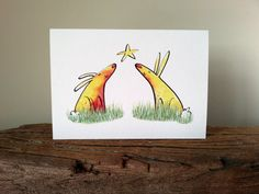 Really lovely Etsy listing at https://www.etsy.com/uk/listing/267865660/greetings-card-blank-greetings-card  #Rabbit Illustration # Rabbit Drawing