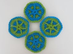Starburst Crochet Pot Scrubbers (set of 4), Handmade and Ready to Ship by TheFiberLine, $8.00 -- from the US, ships worldwide.