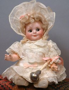 """Super Rare 9.5"""" Bahr & Proschild 686 All Original Googly with Baby from kathylibratysantiques on Ruby Lane"""