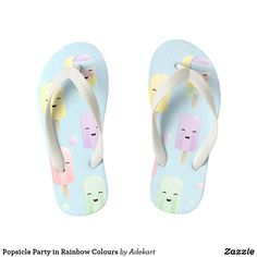 3113dac0f81cf2 Shop Popsicle Party in Rainbow Colours Kid s Flip Flops created by Adekart.